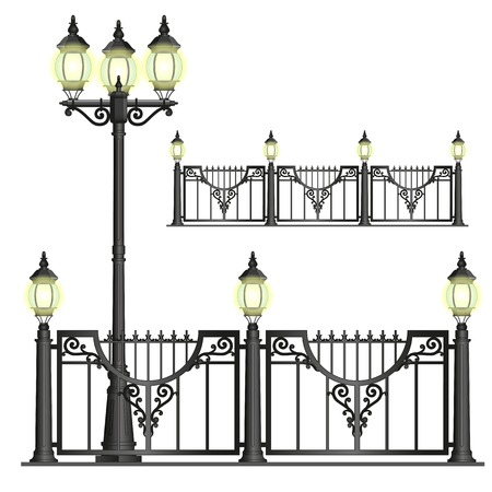 enclosures:  black shod street fence with lanterns with openwork convoluted details Illustration