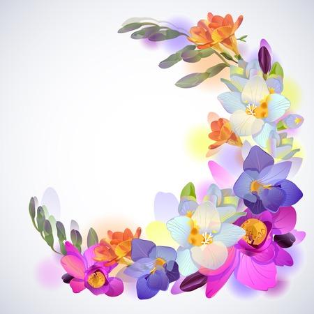 絵画フリージアの花とグリーティング  イラスト・ベクター素材