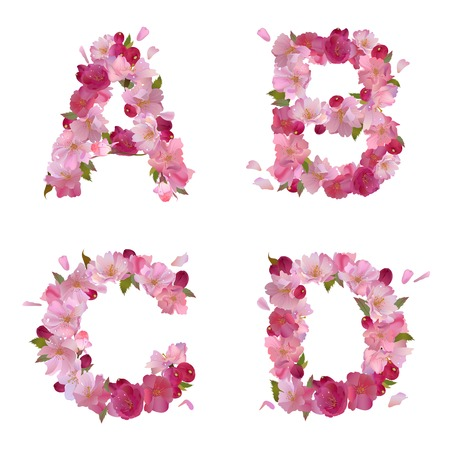 gentle: spring alphabet with gentle pink sakura flowers letters A,B,C,D