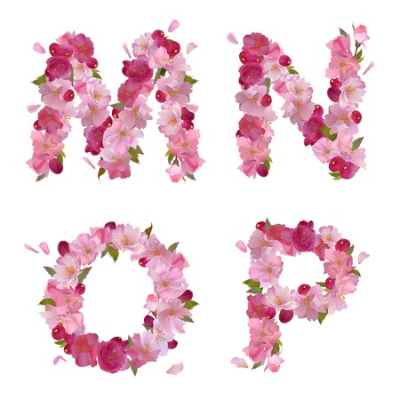 spring alphabet with gentle pink sakura flowers letters M,N,O,P