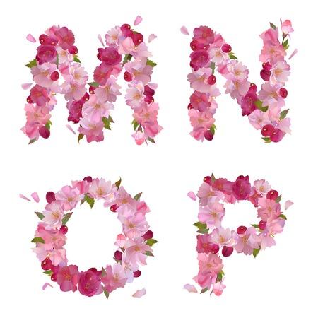 voorjaar alfabet met zachte roze sakura bloemen letters M, N, O, P