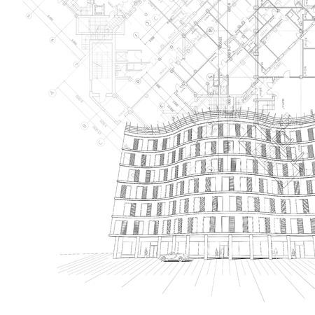 architectural black and white with building Vector