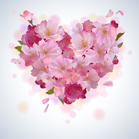 spring with gentle heart from cherry flowers and petals Vector