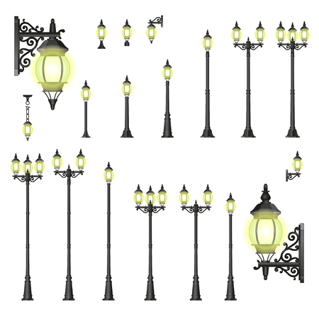 paling: Set of isolated Street lanterns in style with different types of stands and openwork convoluted details