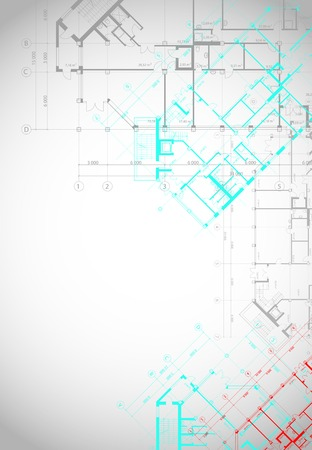 Vector architectural gray with colored plans of building