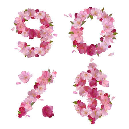Vector figures 9,0 and signs   and   with gentle pink spring sakura flowers Vector