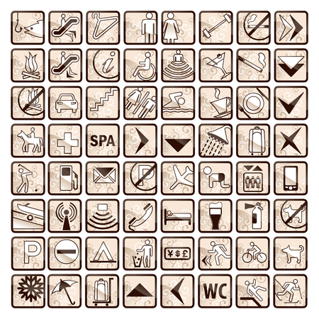 toilet symbol: 64 stylish hotel icons in sepia beige and brown colors Illustration