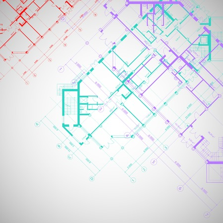 Vector architectural gray background with violet,red and turquoise plans of building Illustration