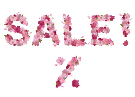 Vector spring inscription Sale  from pink cherry flowers Vector