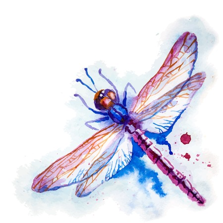 Vector greeting background with beautiful watercolor flying violet dragonfly Çizim