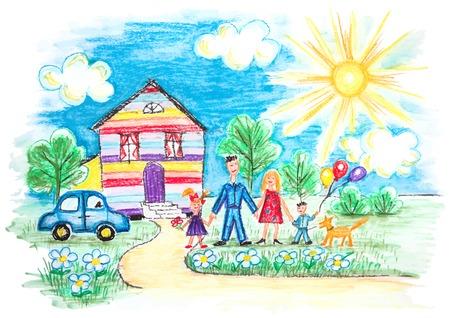 escuela infantil: Vector brillante Childrens Sketch Con familia feliz, Casa, perro, coche en el jardín con flores