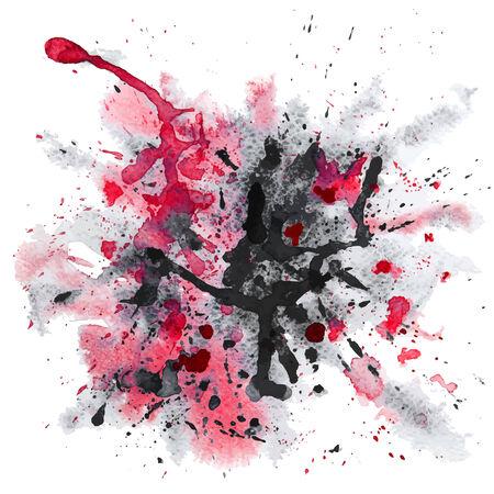 black grunge background: Vector Red and black Grunge Background With Watercolor Splash Illustration