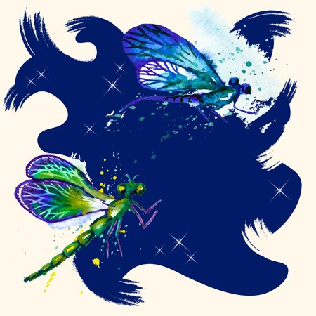 Vector grunge charcoal background with beautiful watercolor flying blue and green dragonflies on the deep blue water Vector