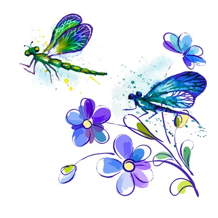 Vector greeting background with beautiful watercolor flying blue and green dragonflies and violet flowers