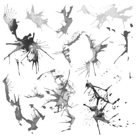 Vector Set of Black and White Grunge Watercolor Splashes
