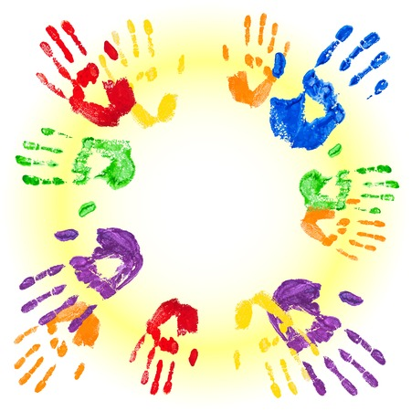 handprints: Vector abstract background with bright multicolored paint handprints