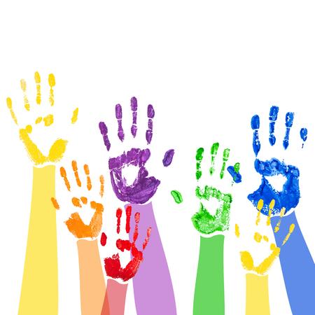 escuela infantil: Vector de fondo abstracto con brillantes huellas de las manos de pintura multicolor