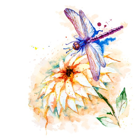 dragon fly: Vector greeting background with beautiful watercolor flying violet dragonfly and lily flower