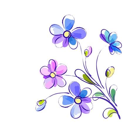 白背景絵青と紫の花とグリーティング