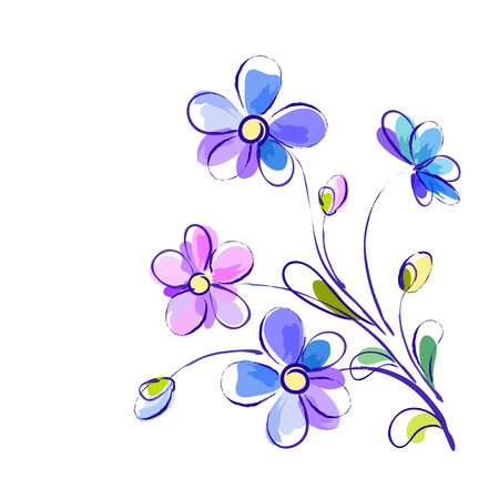white greeting background with pictorial blue and violet flowers