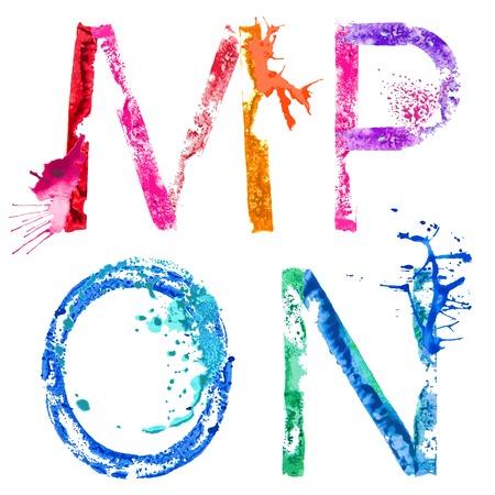 Colorful paint splash alphabet letters M,N,O,P