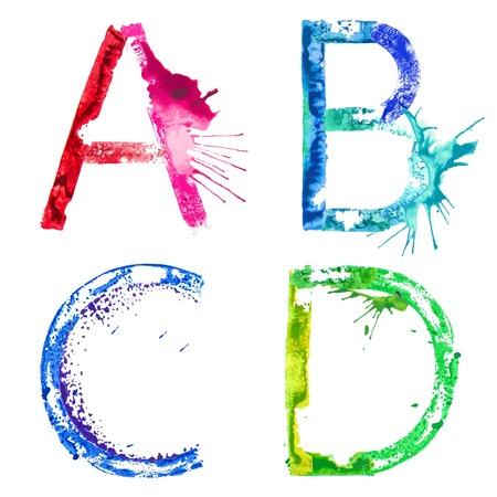 カラフルな塗料スプラッシュ アルファベット文字 A、B、C、D