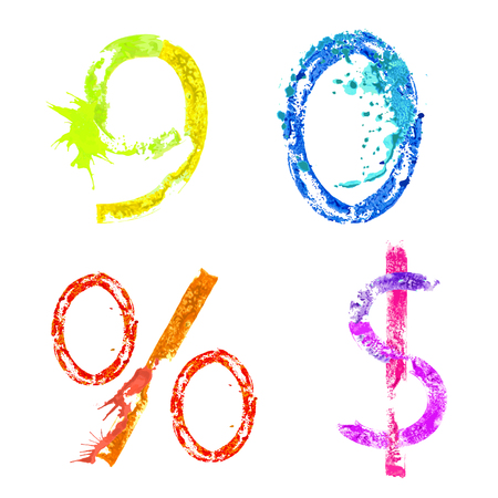 Colorful paint splash alphabet figures 9,0, percent and dollar signs Vector