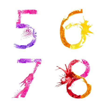 Colorful paint splash alphabet figures 5,6,7,8 Vector