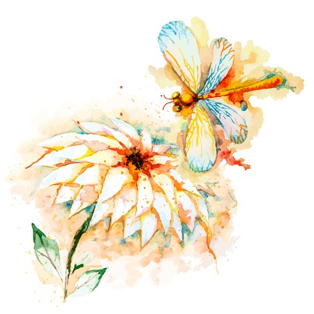 Vector greeting background with beautiful watercolor flying orange dragonfly and lily flower Vector