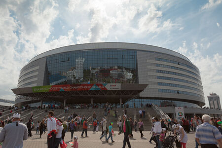 public spirit: MINSK, BELARUS - May 17, 2014  ICE HOCKEY WORLD CHAMPIONSHIP, MINSK-ARENA, the ice arena in Minsk in which pass hockey matches Editorial