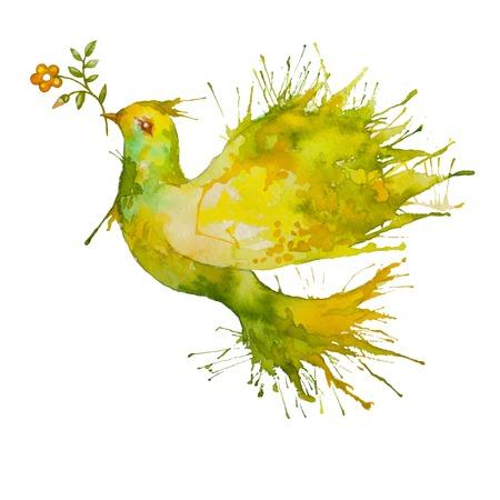 Acquerello verde Colomba in volo con un ramo di fiori - simbolo di pace e natura Archivio Fotografico - 28836290