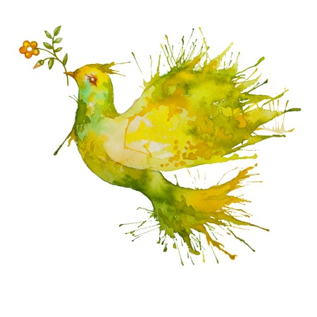 Watercolor Green Dove flying with flower branch - symbol of peace and nature
