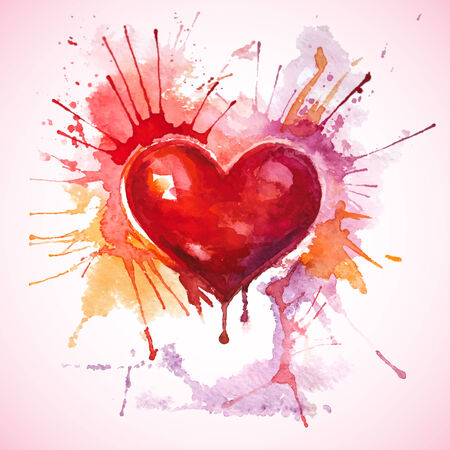 Vector Valentine s Day greeting card with a hand-drawn painted red watercolor heart with orange and pink splashes Vector