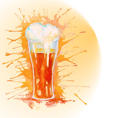 st patricks party: Watercolor glass of fresh beer with foam on the yellow background with splashes