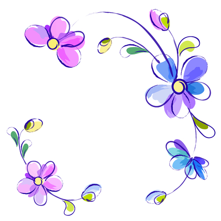watercolour painting: Vector white greeting background with pictorial blue and violet isolated flowers
