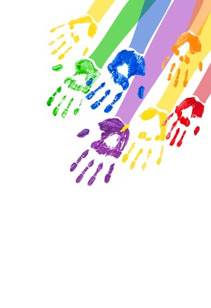 handprints: Vector vertical abstract with bright multicolored paint handprints