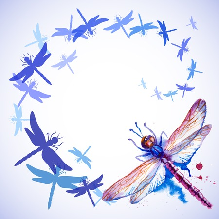 dragonfly wing: Vector greeting with beautiful watercolor flying violet and blue dragonflies