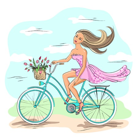 Beautiful young girl riding on the blue bike Vector