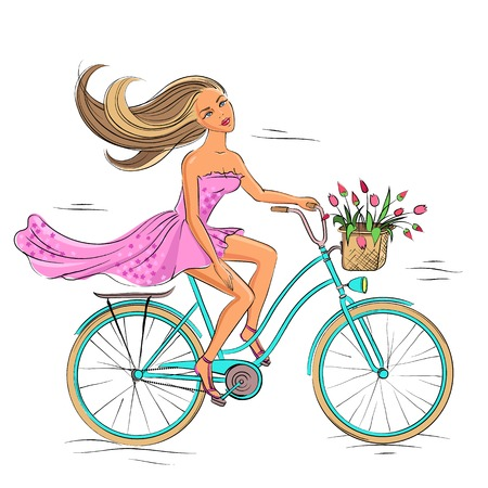 Beautiful young girl riding on the blue bike isolated on the white  Illustration
