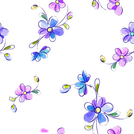 fabric patterns: Seamless white background with blue and violet flowers - vector Illustration Illustration