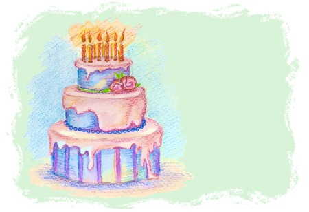 Vector artistic pastel hand-drawn birthday cake with cream and candles  Vector