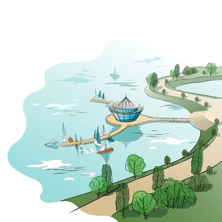 quay: architectural colored landscape with modern building with quay and boats on the water Illustration