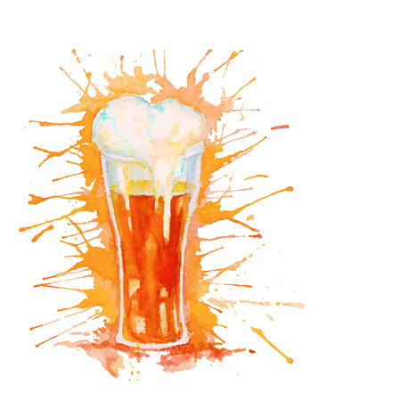 Watercolor glass of fresh beer with foam and splashes isolated