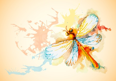 Vector grunge horizontal background with beautiful watercolor flying orange dragonfly Çizim