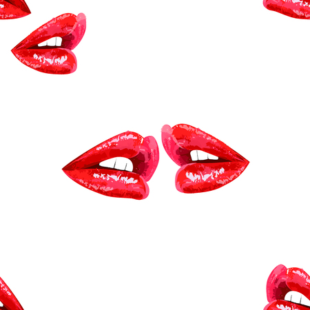 lips kiss: Vector seamless abstract white pattern with sensual shiny red lips