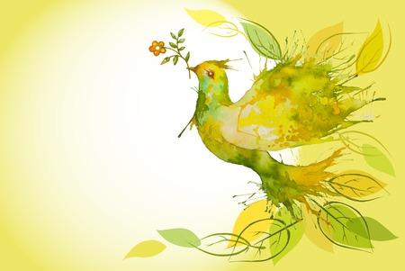 Pomba verde aquarela voando com folhas e ramo de flores