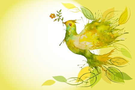 peace and love: Watercolor Green Dove flying with flower branch and leaves