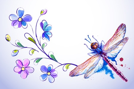 Vector greeting background with beautiful watercolor flying violet dragonflies and blue flowers Vector