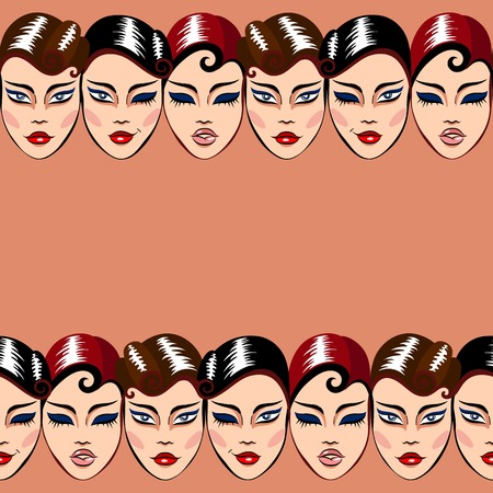 Vector seamless pattern with rows of woman faces Vector