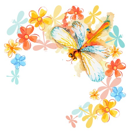 dragonfly wings: Vector greeting background with beautiful watercolor flying orange dragonfly and gentle flowers